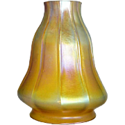 Large American Tiffany Studios Gold Favrile Art Glass Candle Lamp Shade