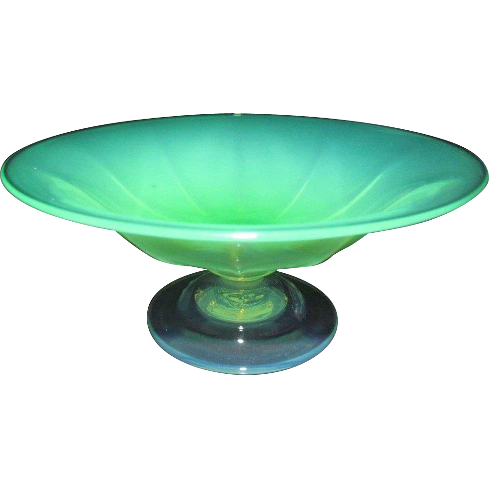 Small American Art Nouveau Pastel Opalescent Art Glass Compote