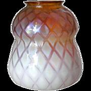 American Tiffany Studios Favrile Gold Diamond Optic Glass Lamp Shade