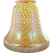 American Fostoria Art Glass Zipper Pattern on Gold Lamp Shade