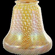 American Fostoria Art Glass Zipper Pattern on Gold Lamp Shade