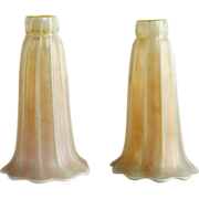 Pair of American Quezal White and Gold Glass Lily Lamp Shades