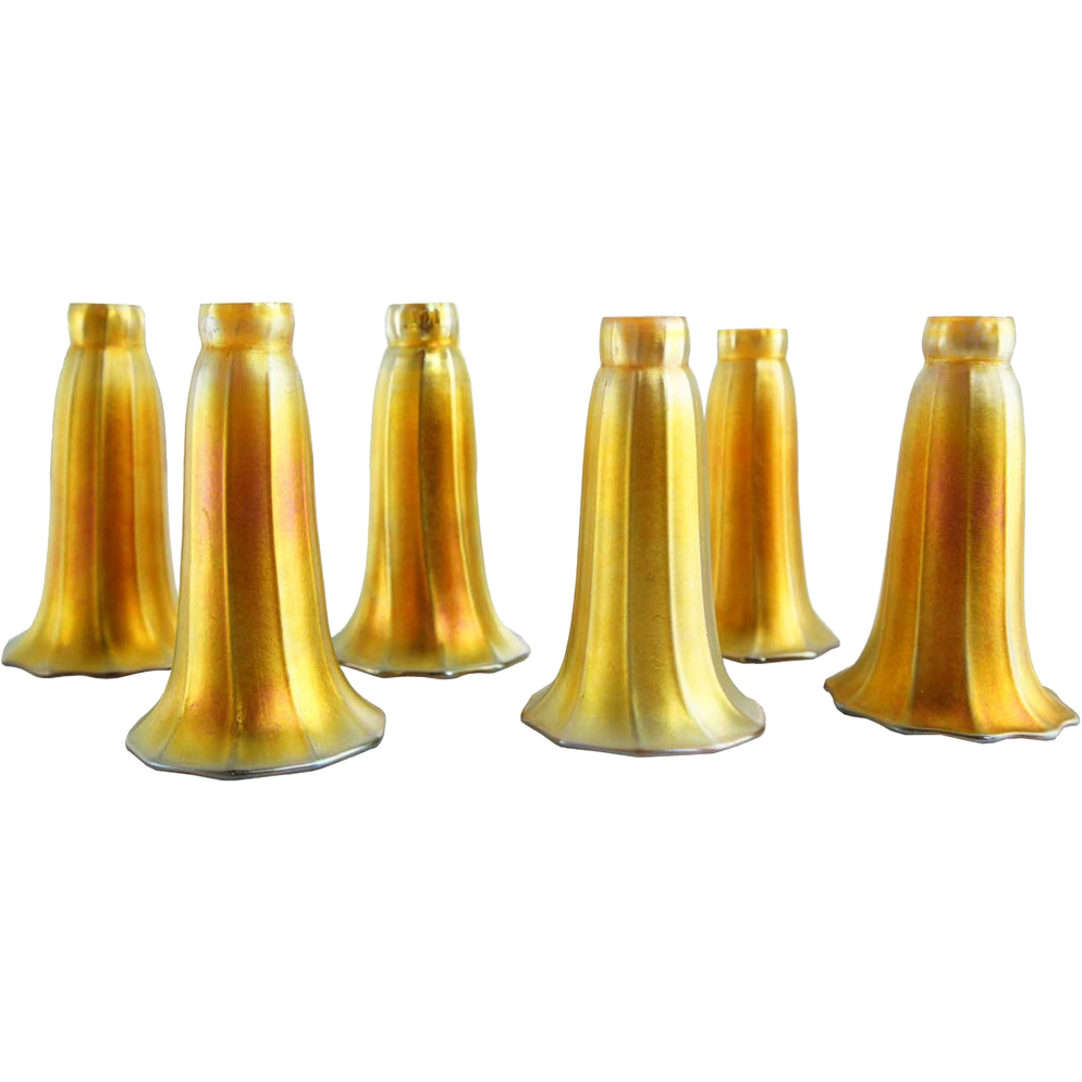 Set Of Six American Steuben Art Glass Gold Lily Lamp Shades : Eron Johnson  Antiques | Ruby Lane