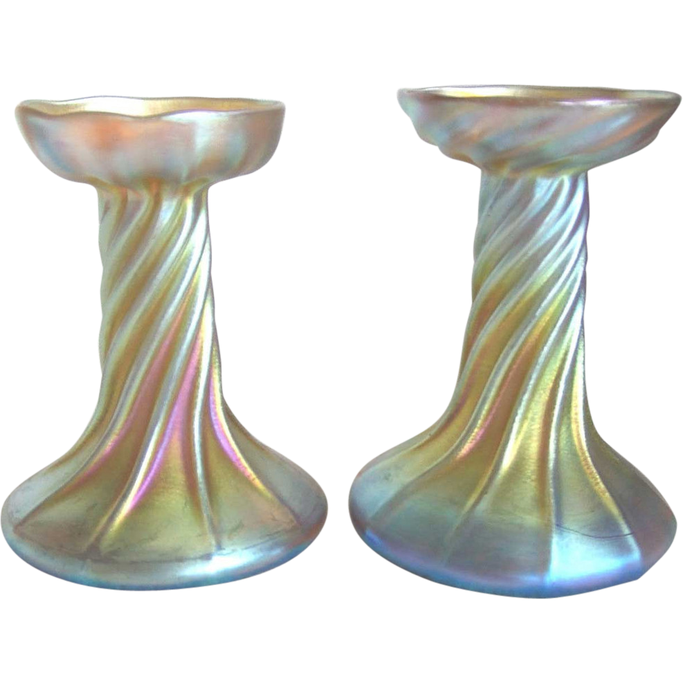 "Pair of American Tiffany Studios Favrile Glass 5"" Candlesticks"