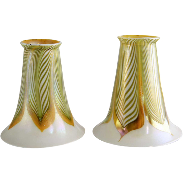 Pair of American Lustre Art Glass Pulled Feather Lamp Shades