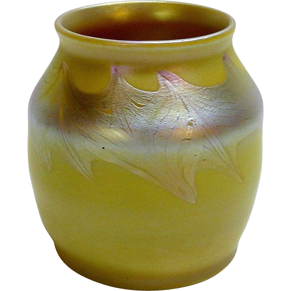 American Tiffany Studios Corona Era Yellow Favrile Art Glass Vase