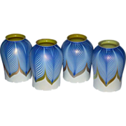 Set of Four American Quezal Art Glass Blue Pulled Feather Lamp Shades
