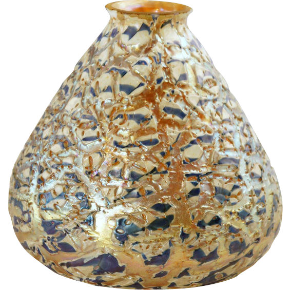 Large 6.5 in. American Durand Art Glass Moorish Crackle Lamp Shade