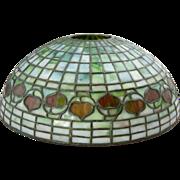 American Tiffany Studios Opalescent Green Leaded Glass Acorn Pattern Lamp Shade