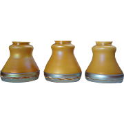Set of Three American Steuben Carder Period Glass Intarsia Border Lamp Shades