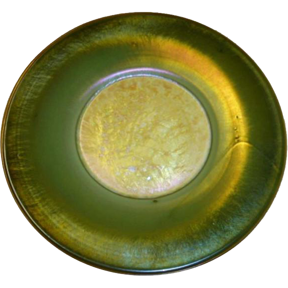 American Tiffany Studios Green Favrile Art Glass Plate