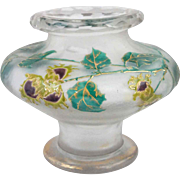 French St. Denis Gilt, Enamel and Cameo Glass Vase