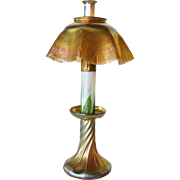 American Tiffany Studios Bronze Oil Lamp with Rare Glass Chimney