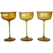 Set of Three American Tiffany Studios Favrile Etched Gold Glass Champagne Glasses