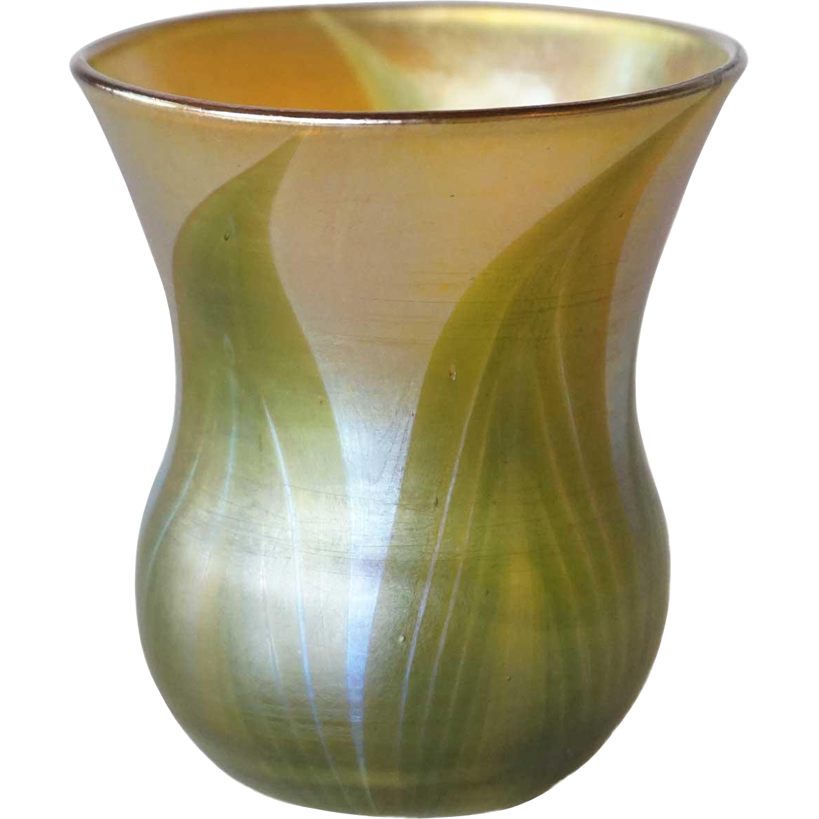 American Tiffany Studios Art Nouveau Pulled Feather Gold and Green Glass Bud Vase