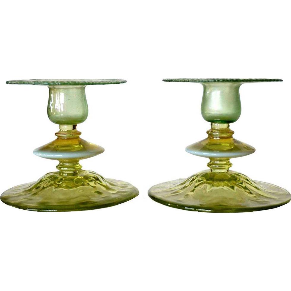 Pair of American Tiffany Studios Pastel Aqua Glass Candlesticks