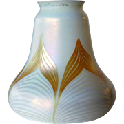 American Quezal Glass White and Gold Bell-Shape Lamp Shade