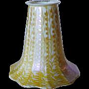 American Quezal Glass Opalescent Gold Zipper Pattern Lamp Shade