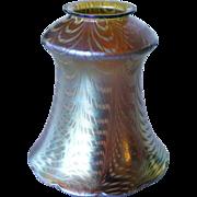 American Lustre Art Glass White and Gold Fishnet Lamp Shade