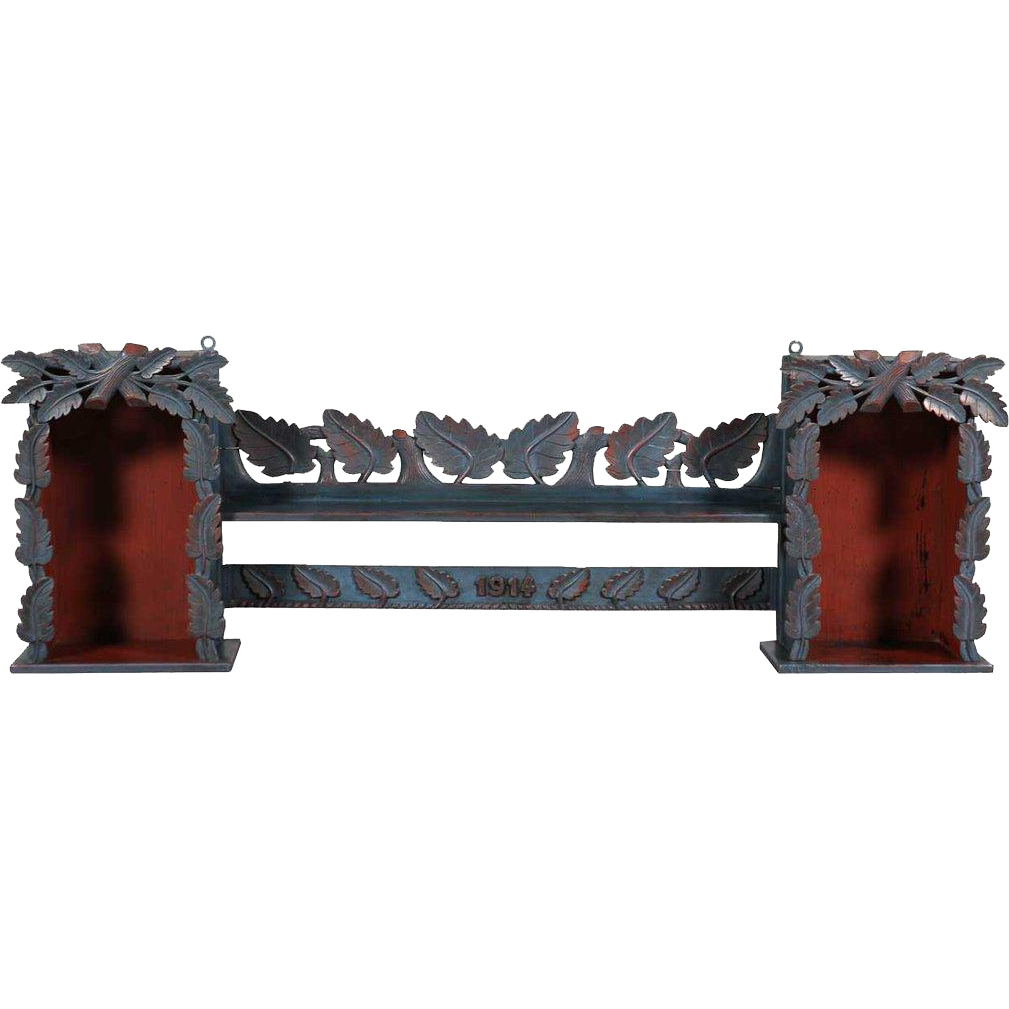 German Black Forest Style Painted Pine Wall Shelf