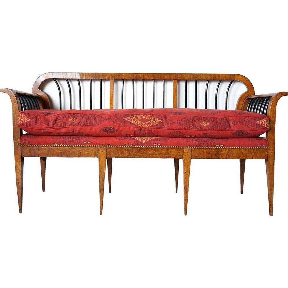 Austrian Biedermeier Pearwood Veneer Upholstered Bench