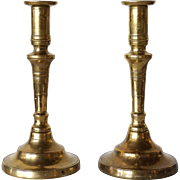 Pair of Russian Brass Candlesticks