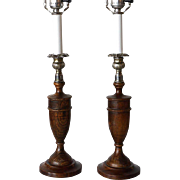 Pair of English Oak Table Lamps
