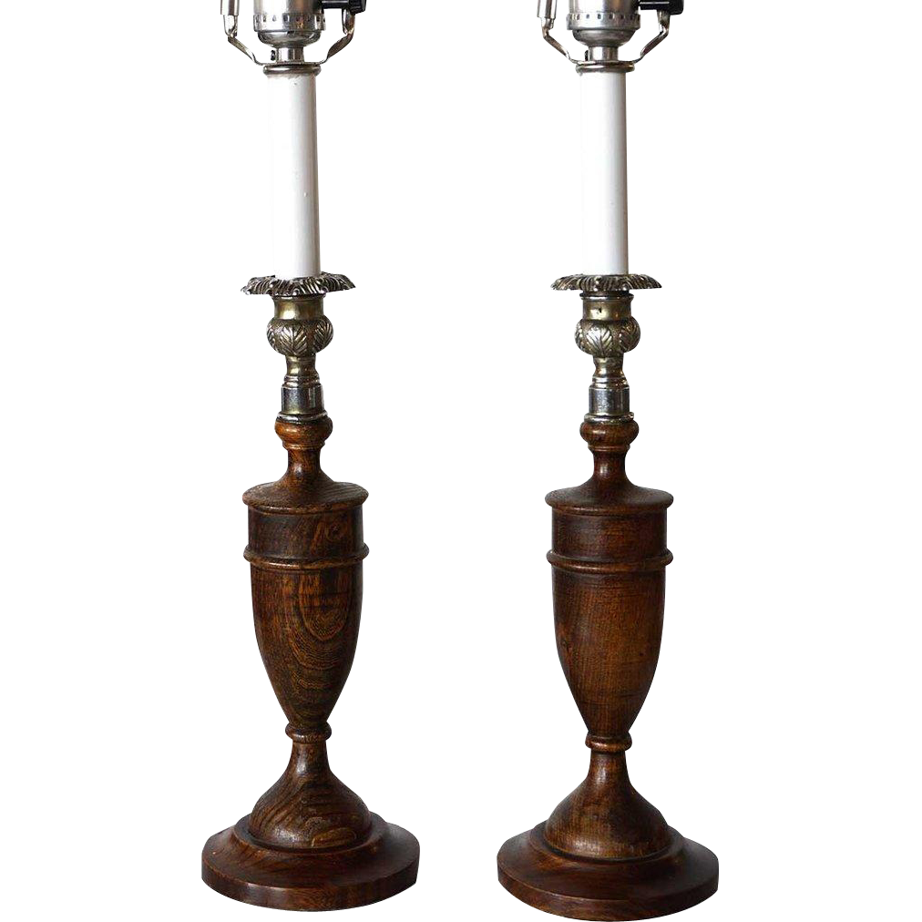 Pair of English Oak and Silverplate Urn Form Table Lamps