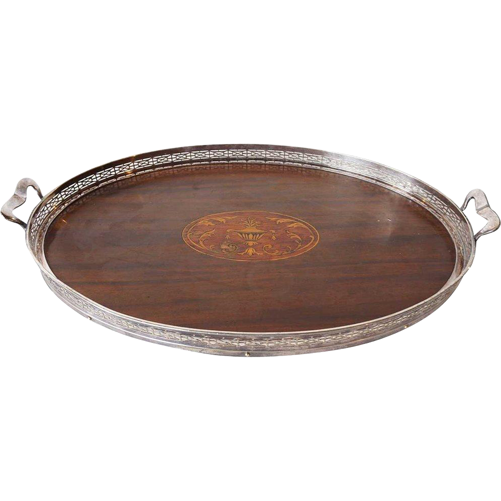 American Wilcox Neoclassical Oval Inlaid Wood and Silverplate Oval Tea Tray