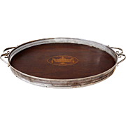 Small English Neoclassical Inlaid Wood and Silverplate Oval Tea Tray