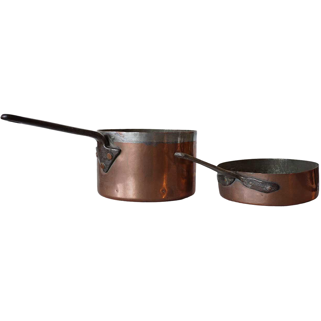 Two English Victorian Copper Cooking Pots