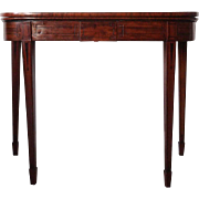 English Regency Inlaid Mahogany Folding Card Table