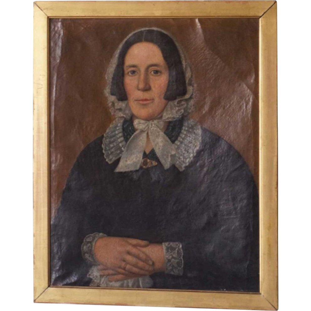 English Oil on Canvas Painting, Portrait of an Elderly Lady