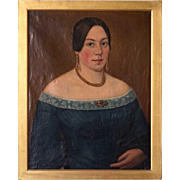 English Oil on Canvas Painting, Portrait of a Lady
