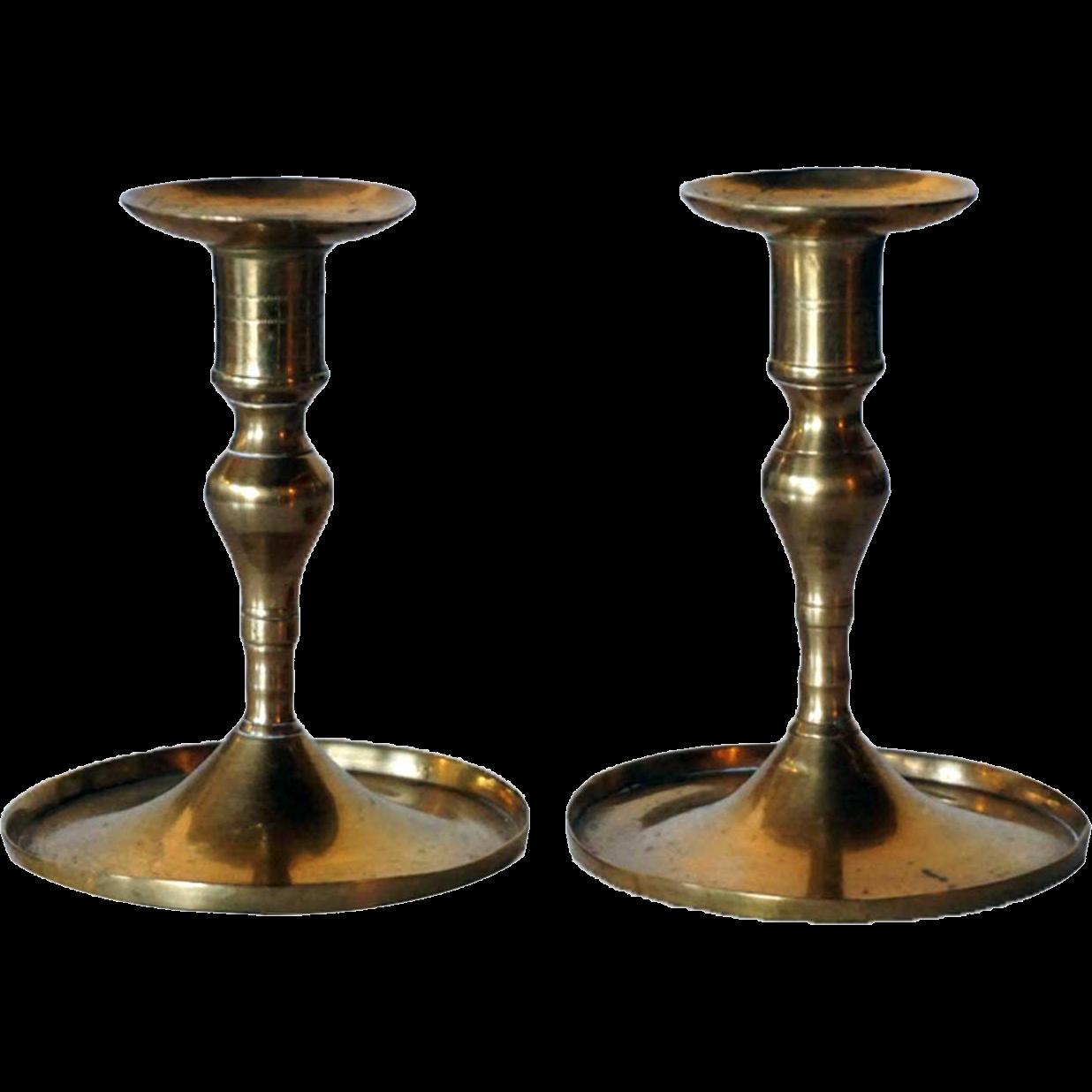 Pair of European Brass Taper Candlesticks