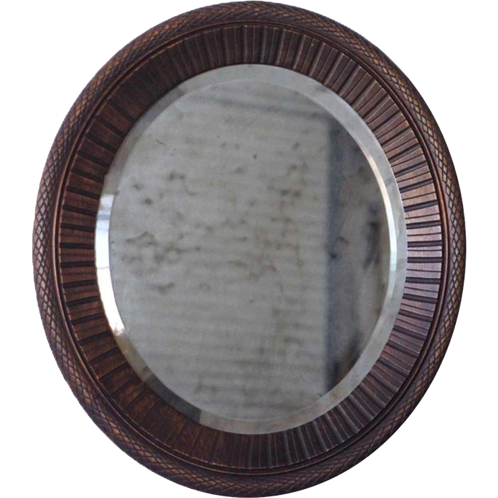 Small English Victorian Carved Beechwood Oval Wall Mirror