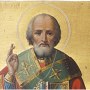 Small Russian Gilt and Oil Paint on on Panel, Saint Nicholas