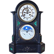 French Export Black Slate and Malachite Mantel Clock
