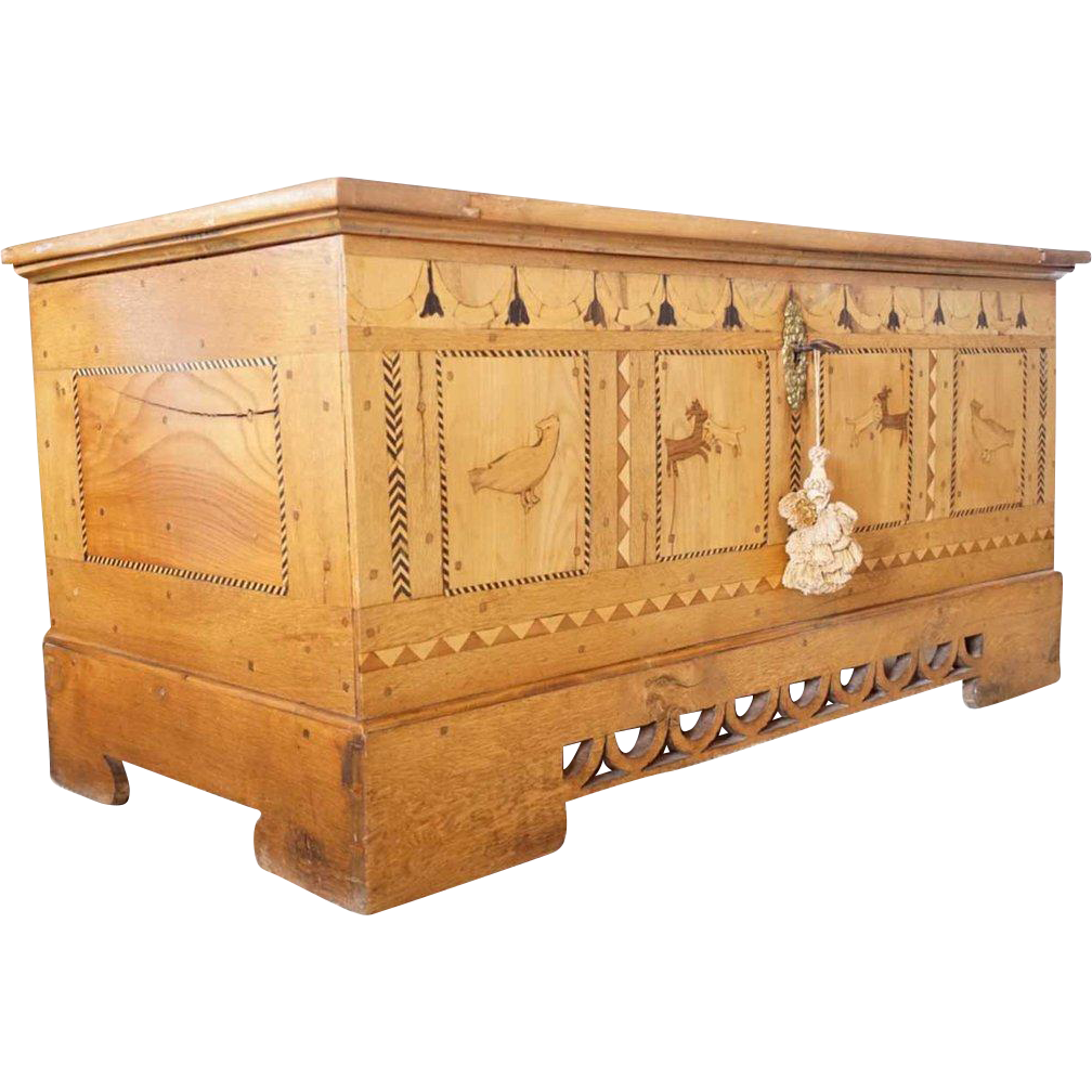 German Blond Walnut and Oak Inlaid Blanket Chest