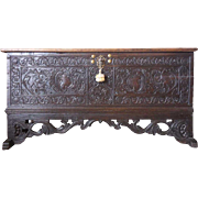 Continental Carved Dark Oak Marriage Chest