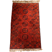 Small Tekke Red and Navy Wool Rug