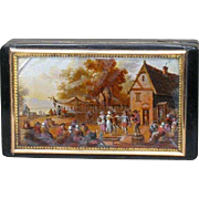 French 18k Gold and Tortoiseshell Box with Village Scene