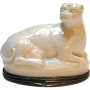 French Mennecy Soft Paste Porcelain Pug Dog Bonbonniere