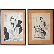 EISHO and TOYOKUNI I Two Japanese Woodblock Prints of Women Subjects