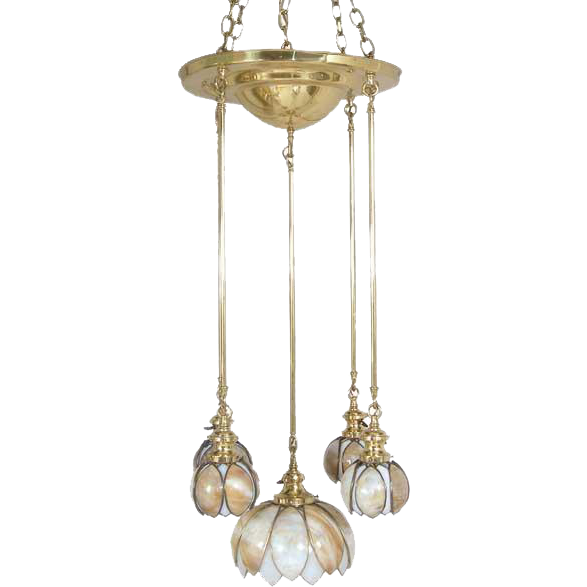 American A. Sechrist Brass and Curved Opalescent Glass 5-Light Pendant Light
