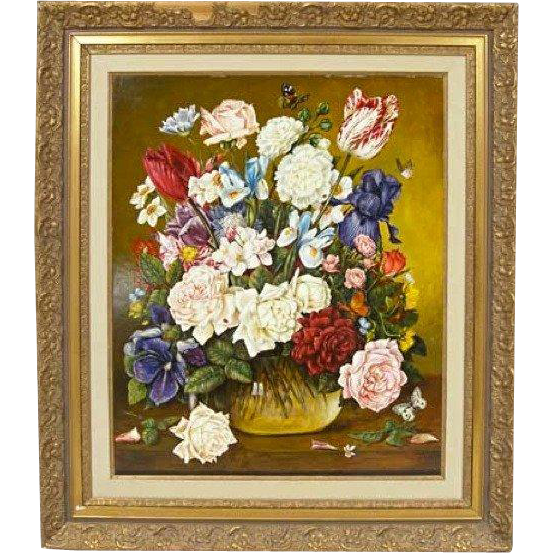 VALENTINA WARGO Painting on Board, Floral Still Life