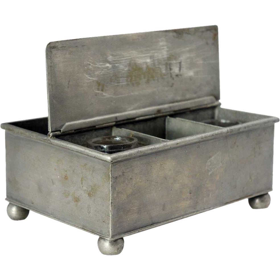 English Pewter Inkstand Box