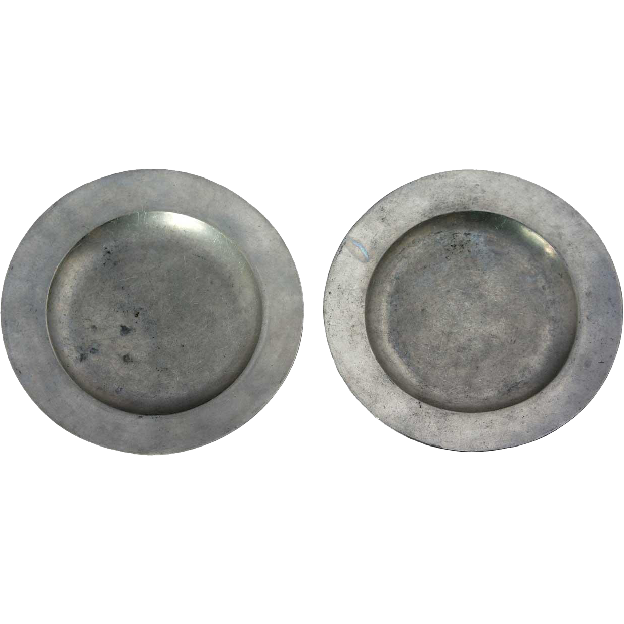 Pair of Small English London B & P Pewter Plates
