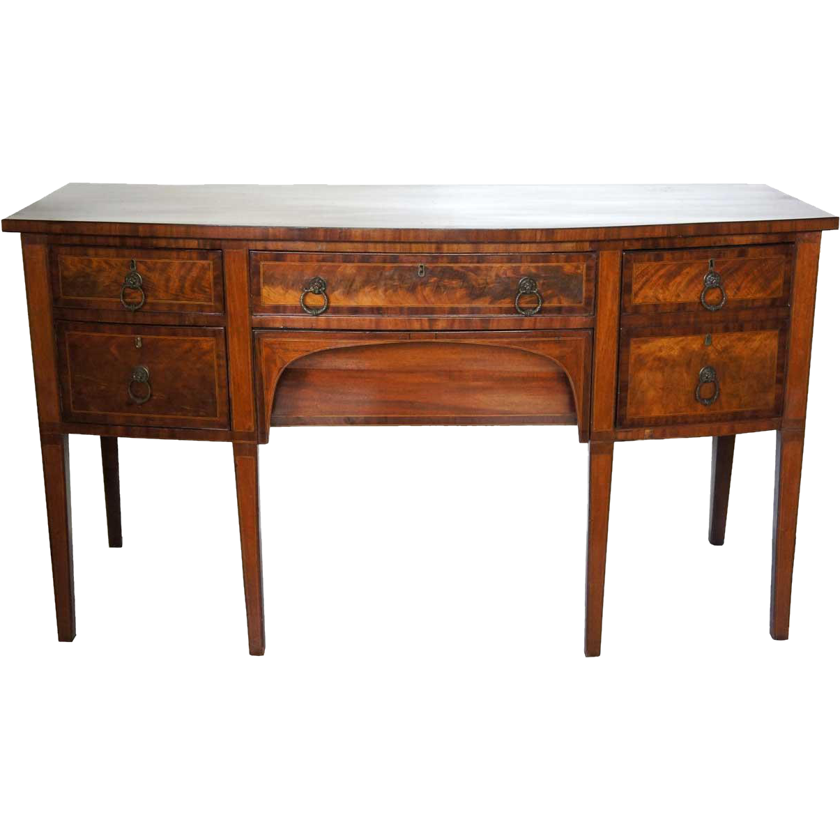 English George III Satinwood Inlaid Mahogany Sideboard