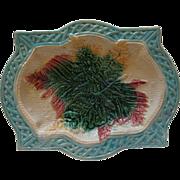 English Victorian Majolica Fern and Basketweave Bread Tray